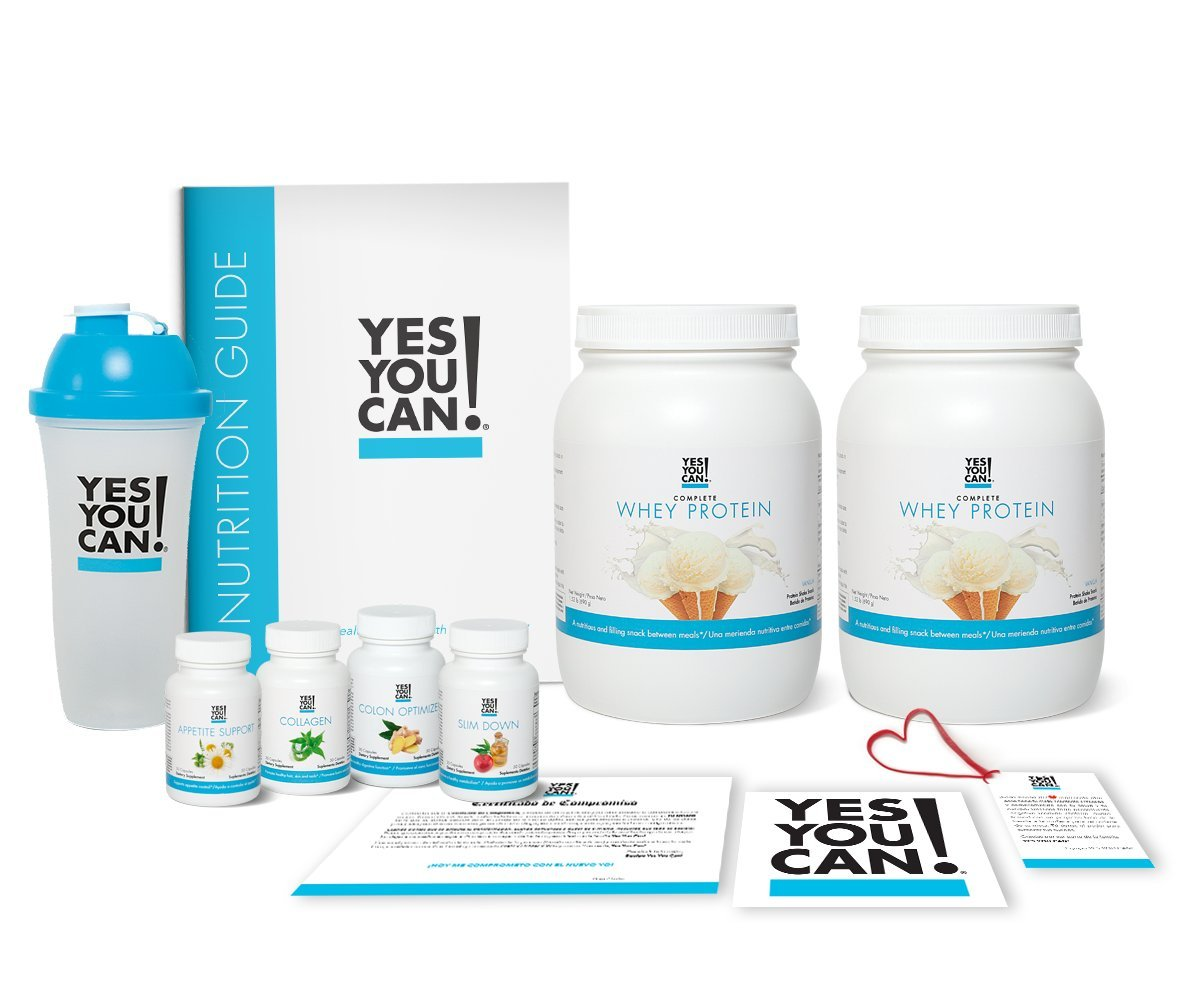 Yes You Can! Transform Kit: Food Lover 60 Servings, Twice a Day, Contains: Two Complete Whey Protein Vanilla, One Slim Down, One Appetite Support, One Collagen, One Colon Optimizer, One Shaker