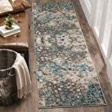 Safavieh Monaco Collection Modern Abstract Grey and Light Blue Runner (2'2' x 6')