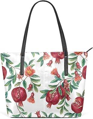 Womens Leather Top Handle Shoulder Handbag Red Flower Large Work Tote Bag