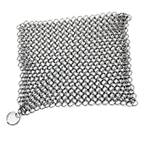 Amagabeli Cast Iron Cleaner XL 7x7 Inch Highest Grade Stainless Steel Chainmail Scrubber