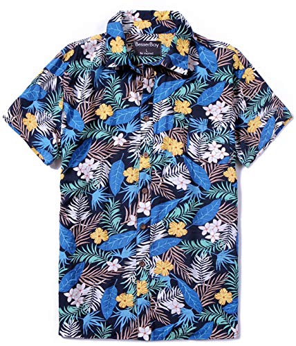 - Tropical Shirt for Mens Short Sleeve Hawaiian Shirt Palm Leaves Blue S
