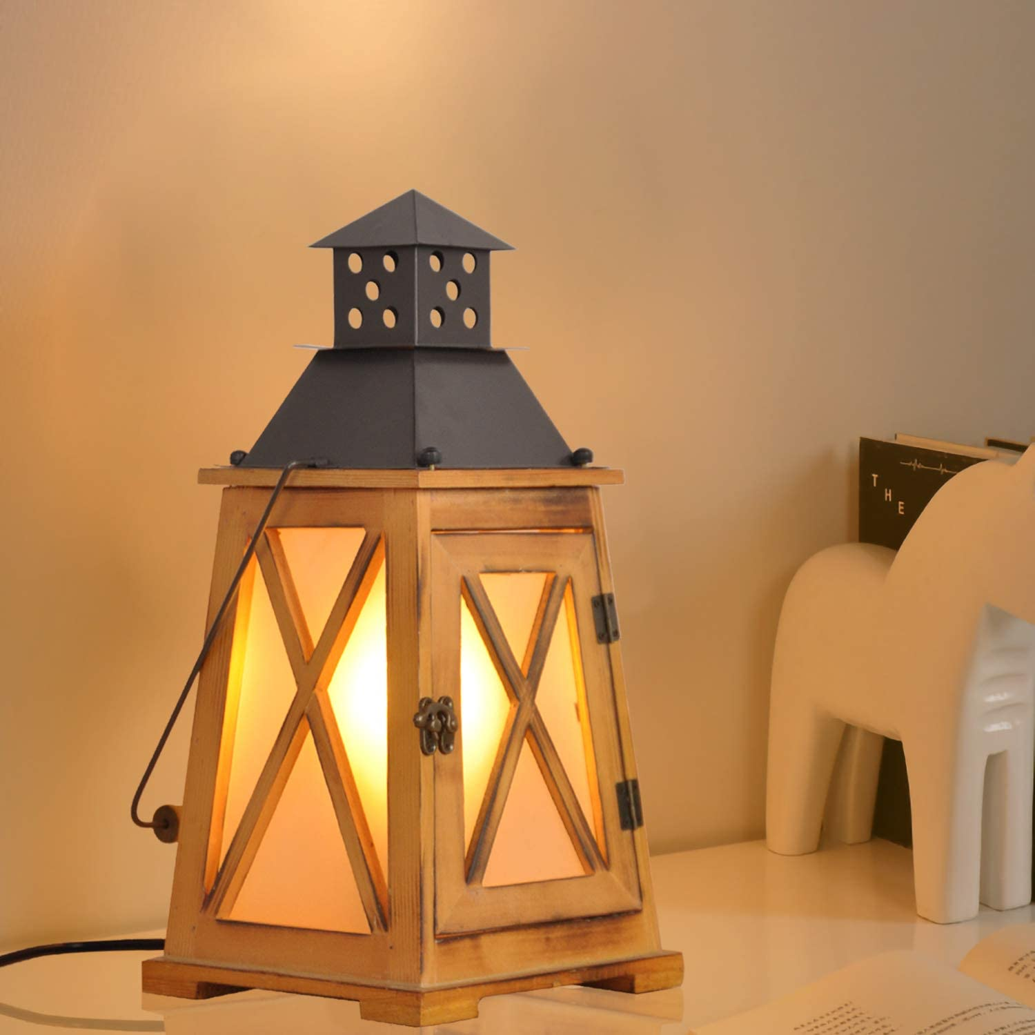 Vintage Lantern Lights Nautical Decorative Industrial Retro Light Fixture, Rustic Table Lamp Decor with Cord Cable, Indoor Outdoor Hanging Wood Desk Lighting