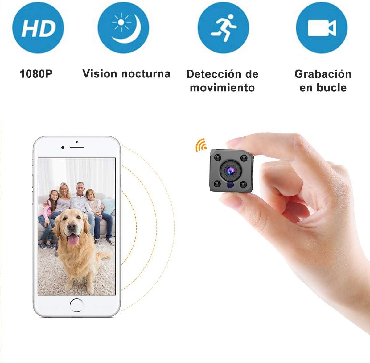 Mini telecamera spia NaCot WiFi Telecamera di sicurezza HD 1080P da interno rilevamento del movimento per uso domestico auto drone visione notturna e di movimento ufficio o allaperto