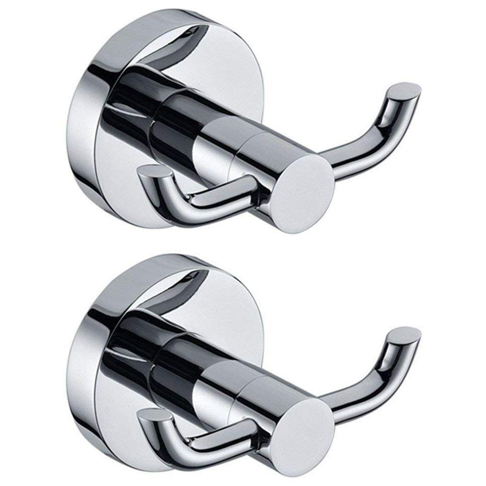 Toogoo 2pcs Stainless Steel Towel Holder Hooks Brass Chrome Door Bathroom Robe 2 Hook Hat Clothes Wall Door Hanger Chrome