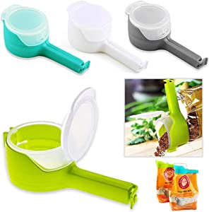 FCOZM Bag Clips for Food, Food Storage Sealing Clips with Pour Spouts, Kitchen Chip Bag Clips, Plastic Cap Sealer Clips, Great for Kitchen Food Storage and Organization