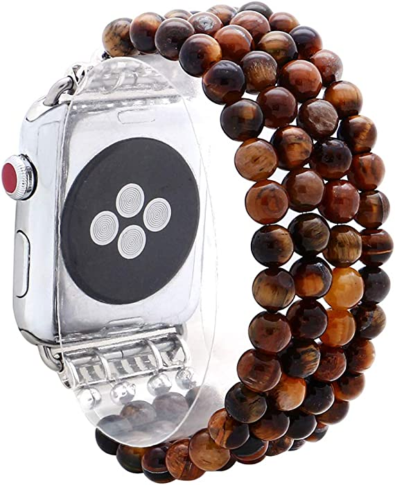 KAI Top Compatible for Apple Watch Band 38mm 40mm 42mm 44mm ,Beaded Band for Women Girls,Elastic Stretch Replacement Band for iWatch Series 5,Series 4 3 2 1