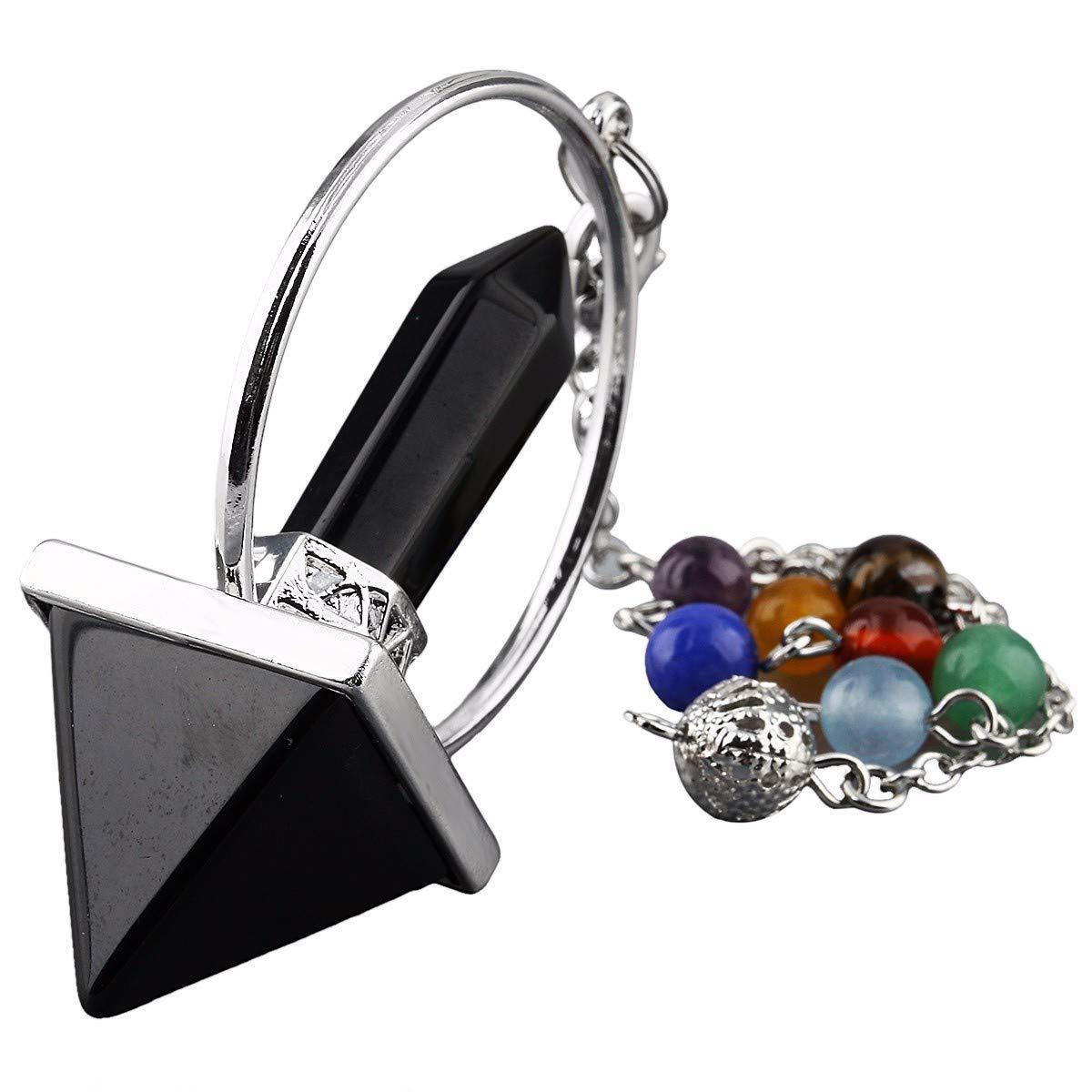 TUMBEELLUWA Healing Crystal Quartz 7 Chakra Pendulum Dowsing Gemstone Divination Reiki Stone,Obsidian