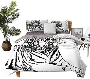 DRAGON VINES Silk Sheets Safari Twin Bed Sheets Sketch of A Posing Tiger Sharp Eyes Largest Cat Species Dark Vertical Stripes Art W78 xL78 Black White