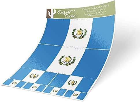 Desert Cactus Guatemala Country Flag Sticker Decal Variety Size Pack 8 Total Pieces Kids Logo Scrapbook Car Vinyl Window Bumper Laptop V
