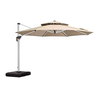 PURPLE LEAF 13 Feet Double Top Round Deluxe Patio Umbrella Offset Hanging Umbrella Outdoor Market Umbrella Garden Umbrella