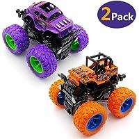 Monster Trucks Friction Powered Cars for Kids Trucks Friction Powered Cars for Kids, Inertia Car Toys for Boys Girls-2 Packs (Purple and Orange)