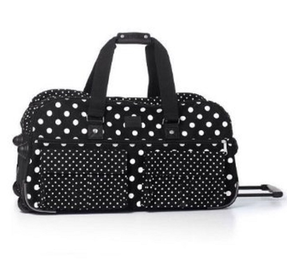 Victoria's Secret PINK Women's Black White Polka Dot Wheelie Suitcase Duffle by Victoria's Secret