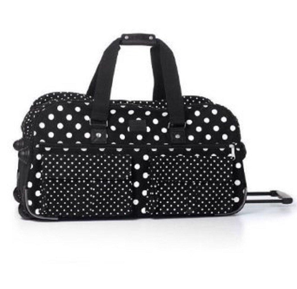 Victoria's Secret PINK Women's Black White Polka Dot Wheelie Suitcase Duffle