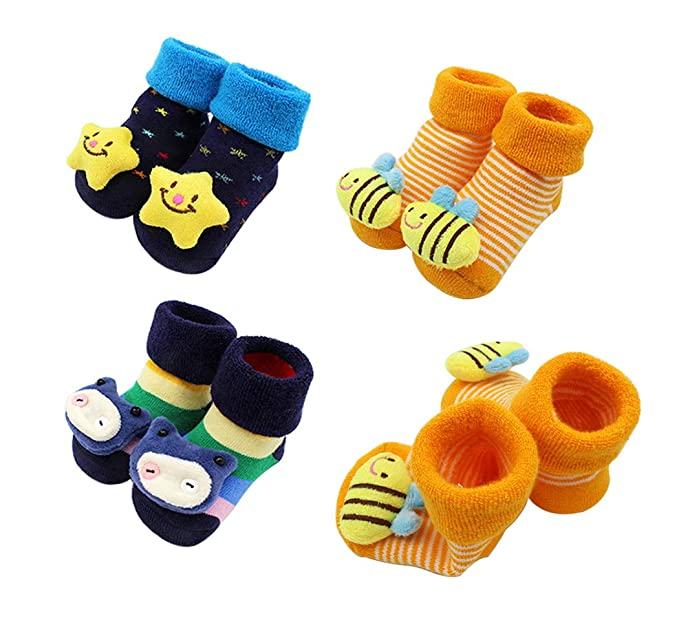 Hillento bebé calcetines antideslizantes, calcetines del bebé con gruesos calcetines de algodón apretones niño antideslizante, dibujos animados 3D, ...