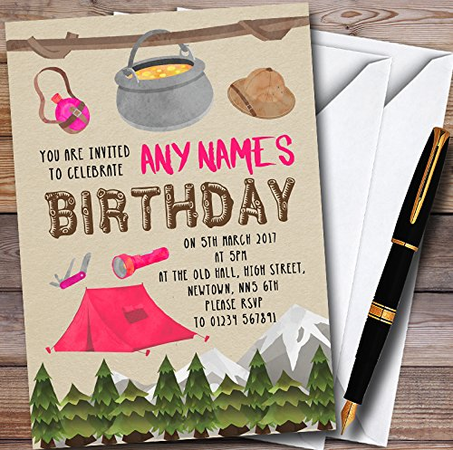 Outdoor Camping Girls Personalized Childrens Party Invitations