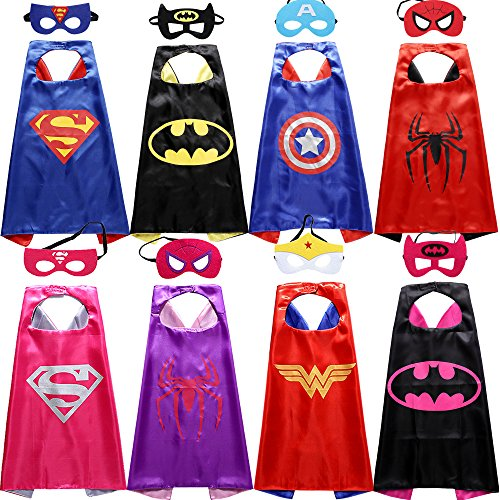 Sholin Comics Cartoon Dress Up Costumes Superhero Satin Capes with Felt Masks (Set of 8)