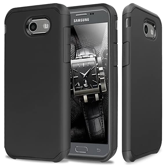 outlet store 5ab44 e4e29 TJS Case Compatible for Samsung Galaxy J7 Sky Pro/Galaxy J7 Perx/Galaxy J7  V/Galaxy Halo/Galaxy J7 Prime, Dual Layer Hybrid Shockproof Impact Drop ...