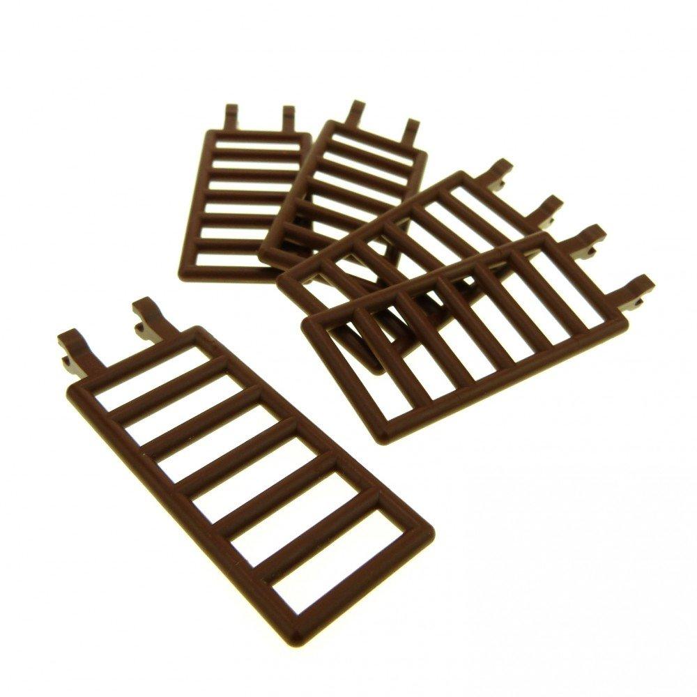 3 x Lego System Zaun braun 7x3 mit 2 Clip Gatter Wild West Castle 6056 6763 6020