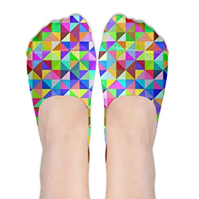 Colorful Geometric Pattern Triangles DIY Printed Pattern Soft Low Cut Socks No-show Liner Invisible Polyester Cotton Sock For Female (One Pair)