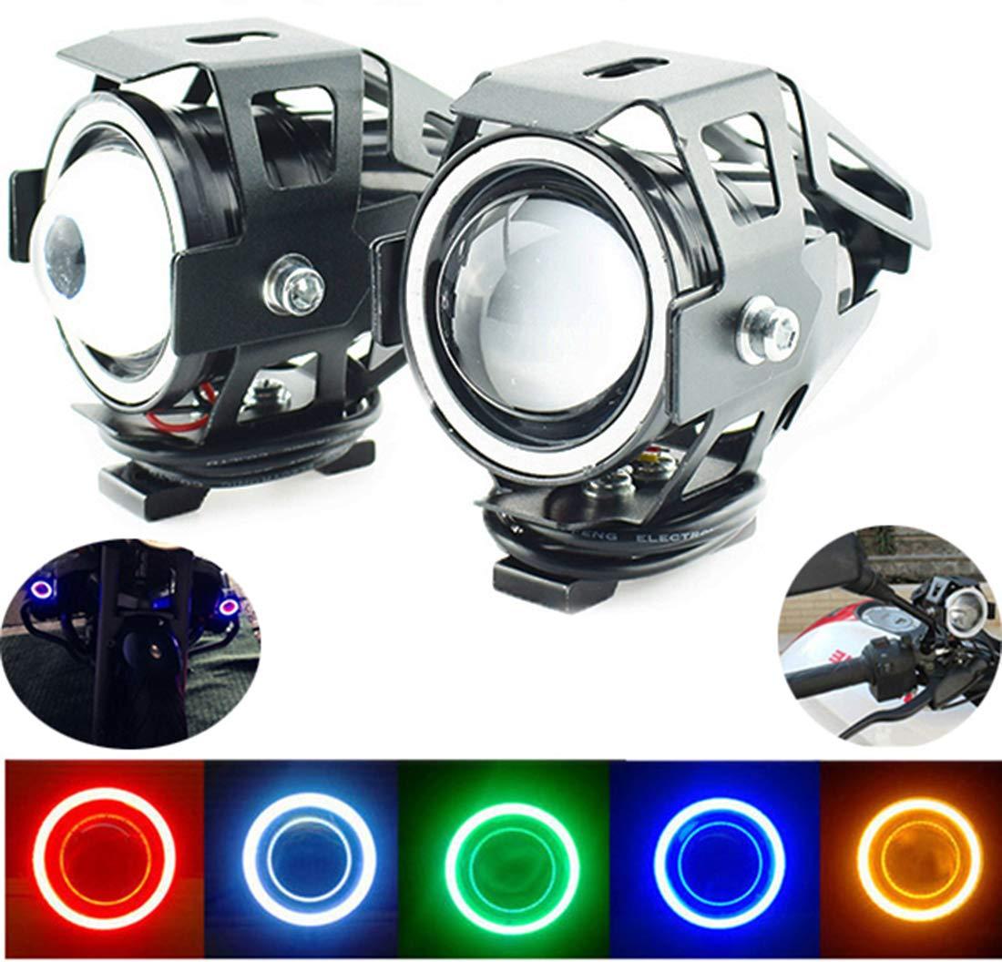 2 focos de luz antiniebla de 12 V Mini U7 Angel Eyes LED para faros delanteros de motocicleta luz de trabajo auxiliar
