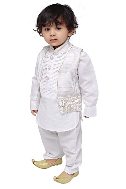 90bd2d3b346aa Munna Munni Kids Apparel Baby Boy s Cotton Linen Classic Pathan Jacket Suit  (White