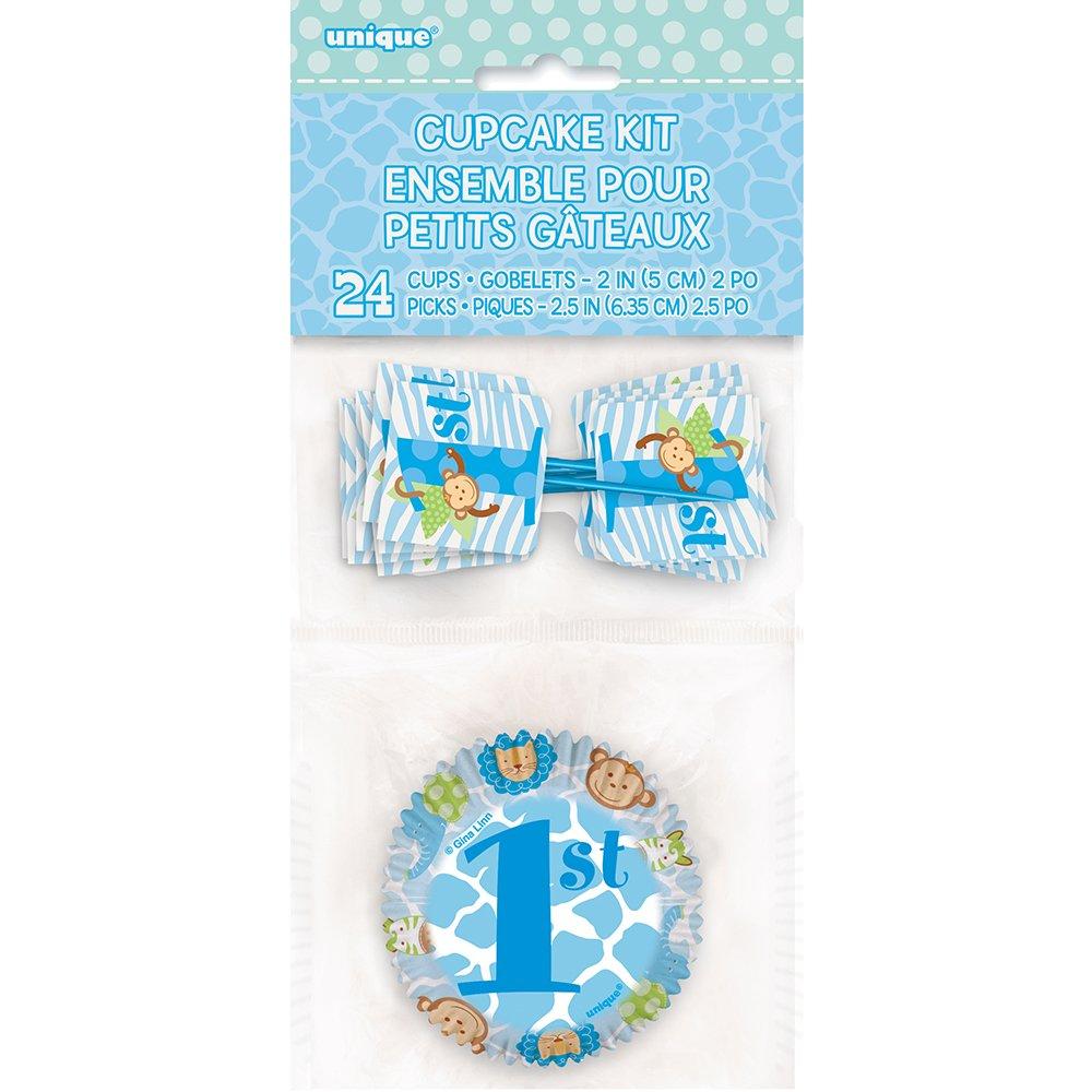 amazon com blue safari first birthday cupcake kit for 24 kitchen