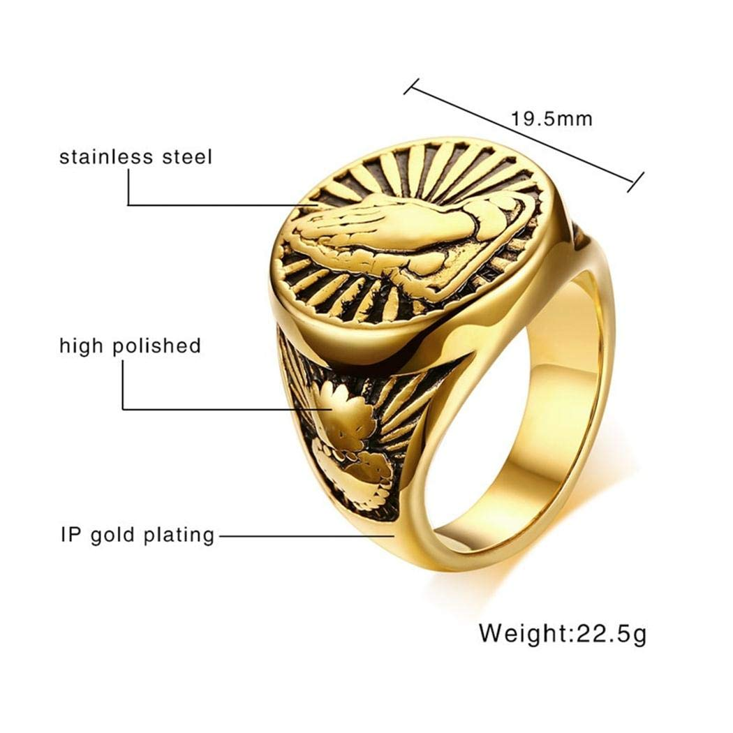 JEWURA Religious Ring Devout Namaste Gesture Fashion Stainless Steel Ring