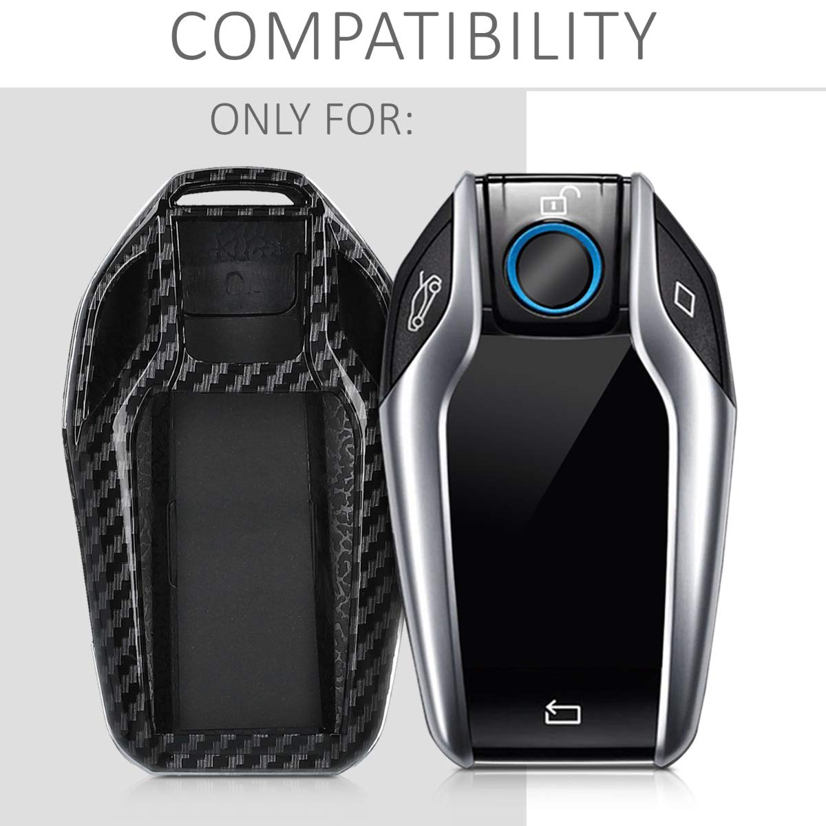 Coque pour Clef de Voiture BMW avec /écran en Plastique /Étui de Protection Rigide Noir kwmobile Accessoire Cl/é de Voiture pour BMW