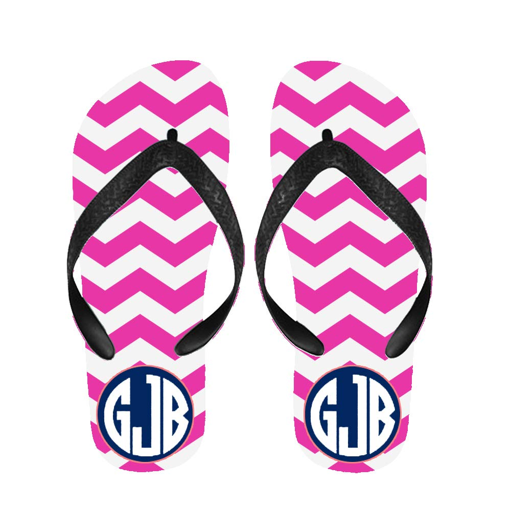 Bernie Gresham Flip Flops Pink V Shape Monogram Sandals Beach Slippers