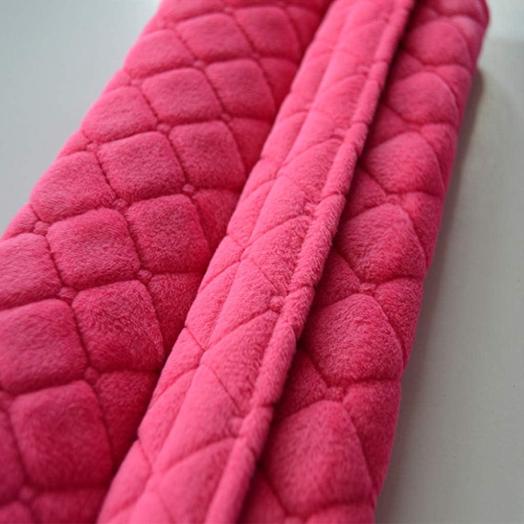 cortas de felpa Almohadillas para cintur/ón de seguridad de coche c/álidas fundas de coj/ín protecci/ón para el hombro y accesorios para el interior del coche Rose Pink