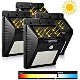 LEDMO luci solari led di 20 LED PIR 6000K Bianco, led Solare Wireless ad Energia Solare da Esterno con Sensore di Movimento giardino, parete, scale, muro, cortile, patio,4 Pezzo