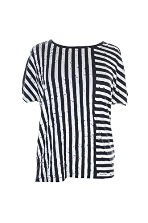 2ae73d65a71 Michael Kors Sequin Stripe Tee Navy at Amazon Women s Clothing store