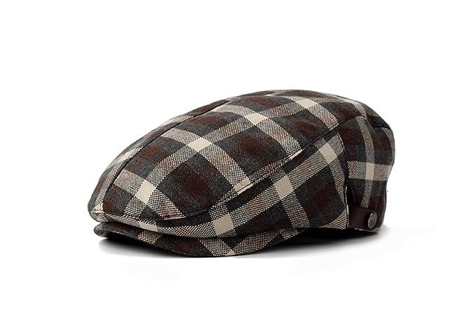 96fb0c12185 Cotton Linen Check Plaid IVY newsboy Cabbie Driving duckbill Hat Cap 60cm ( Brown)