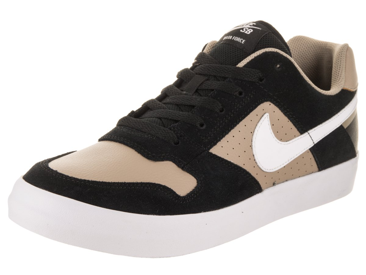 NIKE Men's SB Delta Force Vulc Skate Shoe 7 D(M) US|Black/Khaki/White/White