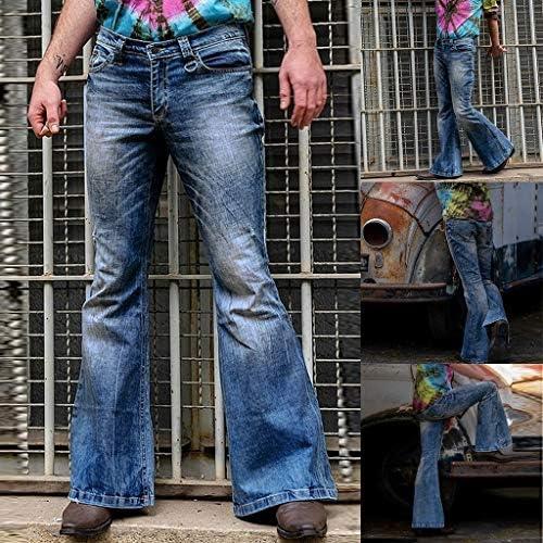 メンズファッションルーズデニムストレートパンツユーズド加工ジーンズロングフレアパンツ