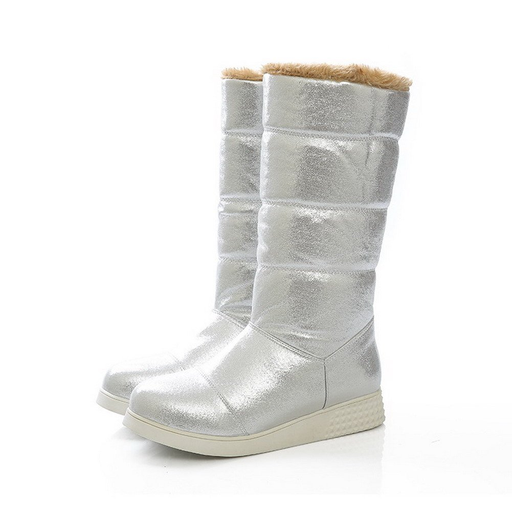 M VogueZone009 Ladys Closed Round Toe Low Heel PU Soft Material Solid Boots with Non-Slipping Sole 6.5 B Silver US