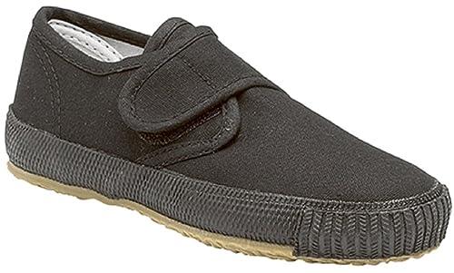 b49c6c2d6722 Boys Girls Black Canvas Plimsolls Velcro Strap Infant 6 - Large Size 5   Amazon.co.uk  Shoes   Bags