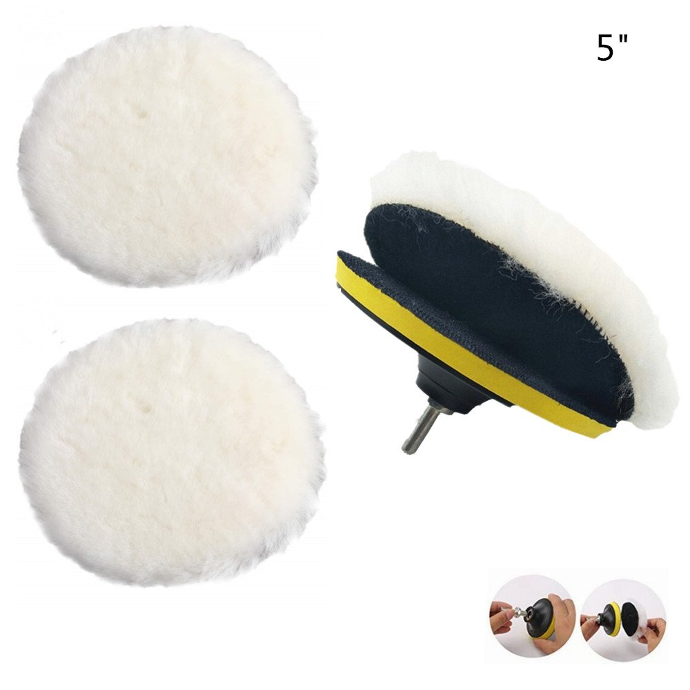 IROCH polishing pad, Wheel Polishing Pad and Polishing Buffer Woolen Polishing Waxing Pads Kits with M14 Drill Adapter With polished and polished items such as artificial stone furniture cars (5 Inch)