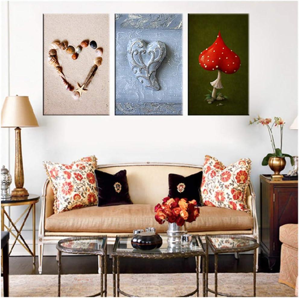 juntop Pintura en Lienzo Concha en Forma de corazón Cuadros de Pared Pintura Moderna de bodegones de Setas Rojas para decoración de Habitaciones 40x60 cm / 15.7