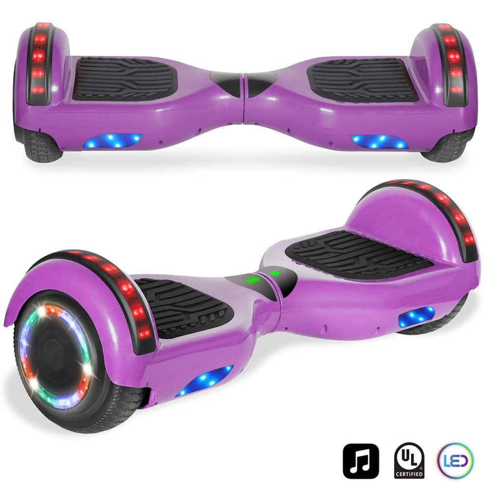 Cho Electric Self Balancing Dual Motors Scooter Hoverboard with Built-in Speaker and LED Lights - UL2272 Certified (-Purple)