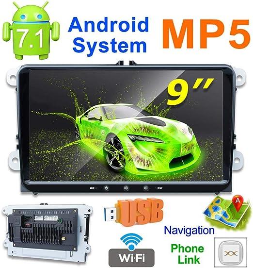 bulrusely - Radio Multimedia de Coche con Bluetooth, 1 G/16 G, WiFi/BT Internet Tethering, GPS Multimedia BT WiFi Am/FM para Android 7.1: Amazon.es: Hogar
