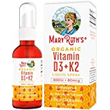 Vegan Vitamin D3+K2 (MK-7) Liquid Spray by MaryRuth's Organic Ingredients, Plant Based, Non-GMO Vegan Gluten Free…