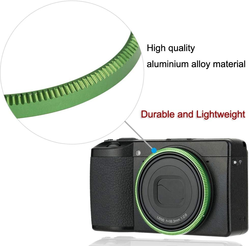 Metal Ring Cap for Ricoh GR III GRIII GR3 Camera Lens Decoration Ring Anti-Lost Replace Ricoh GN-1 Ring Cap-Green