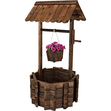 Sunnydaze Outdoor Wooden Wishing Well Garden Planter with Hanging Flower Bucket, 45 Inch