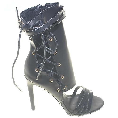 983d669e67afaf Malu Shoes Tronchetti Donna Alti con Tacco a Spillo scollati Allacciatura  alla Schiava Stile Corsetto Aggressive Trendy: Amazon.it: Scarpe e borse