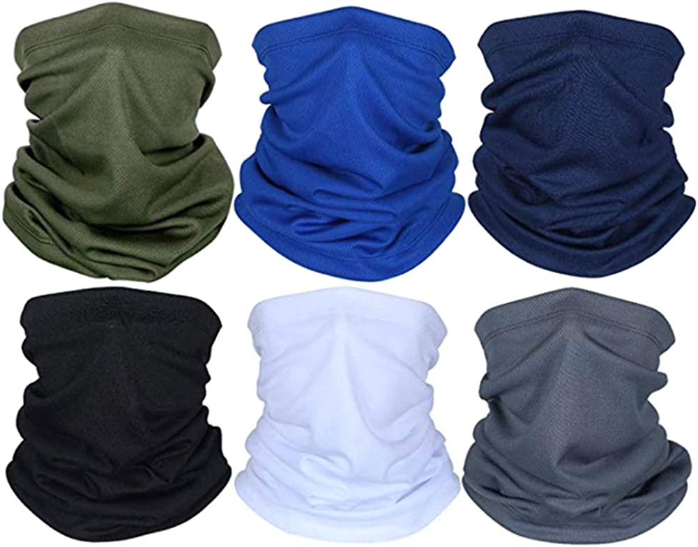 KILUS 6pcs Sun UV Protection Neck Gaiter, Summer Dust Face Scarf Cover Breathable Balaclava for Cycling Hiking (A), Large