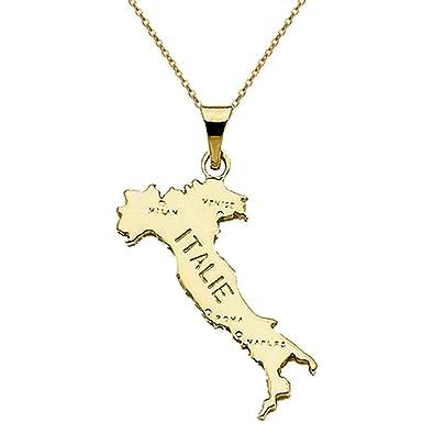 Tarjeta colgante Italia chapado en oro 18 quilates + cadena ...