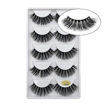 9f99477f90f Amazon.com : Lakkio 5 Pairs Pure Mink Hair Eyelashes 3D Eyelashes Extension  Natural Dense False Eyelashes Handmade Lashes Set : Beauty