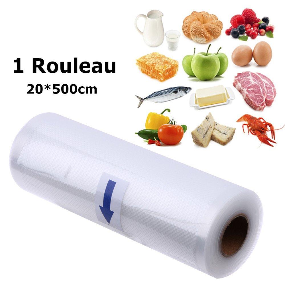 1 Rouleau sous Vide pour Tous les Appareils de Mise sous Vide Luniquz Sacs sous Vide pour Aliments -20 * 500cm