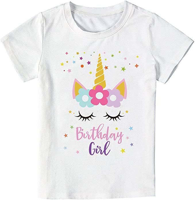 Unicorn Birthday Star T-Shirt, Unicorn Outfit Gifts for Girls